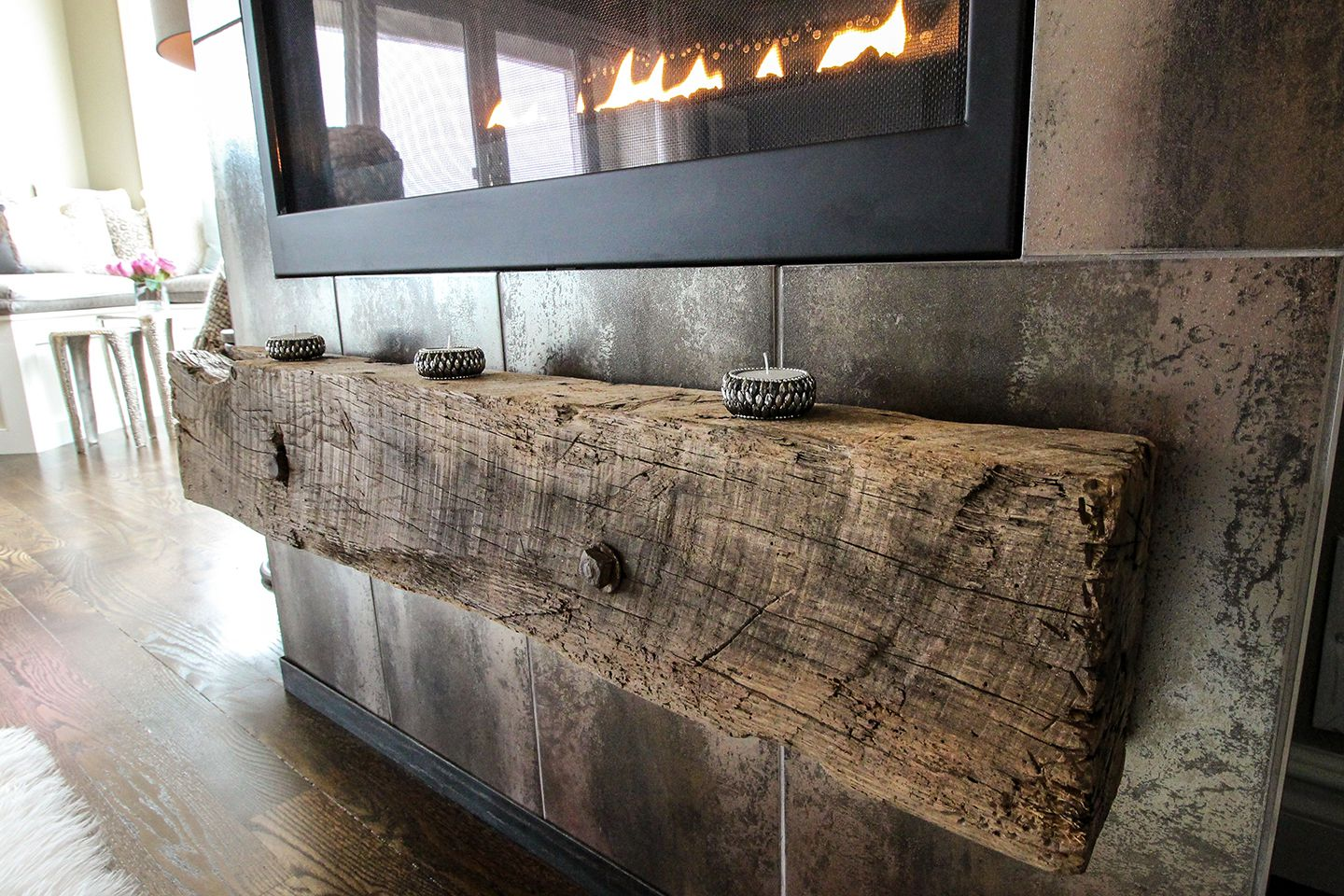 Reclaimed timber used as fireplace hearth
