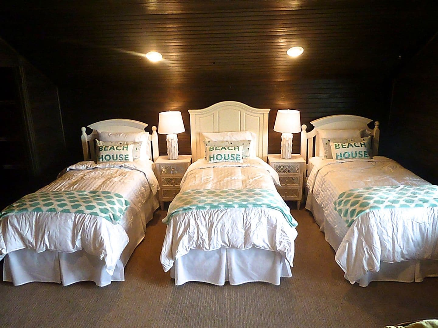 crisp down bedding with seaglass accents