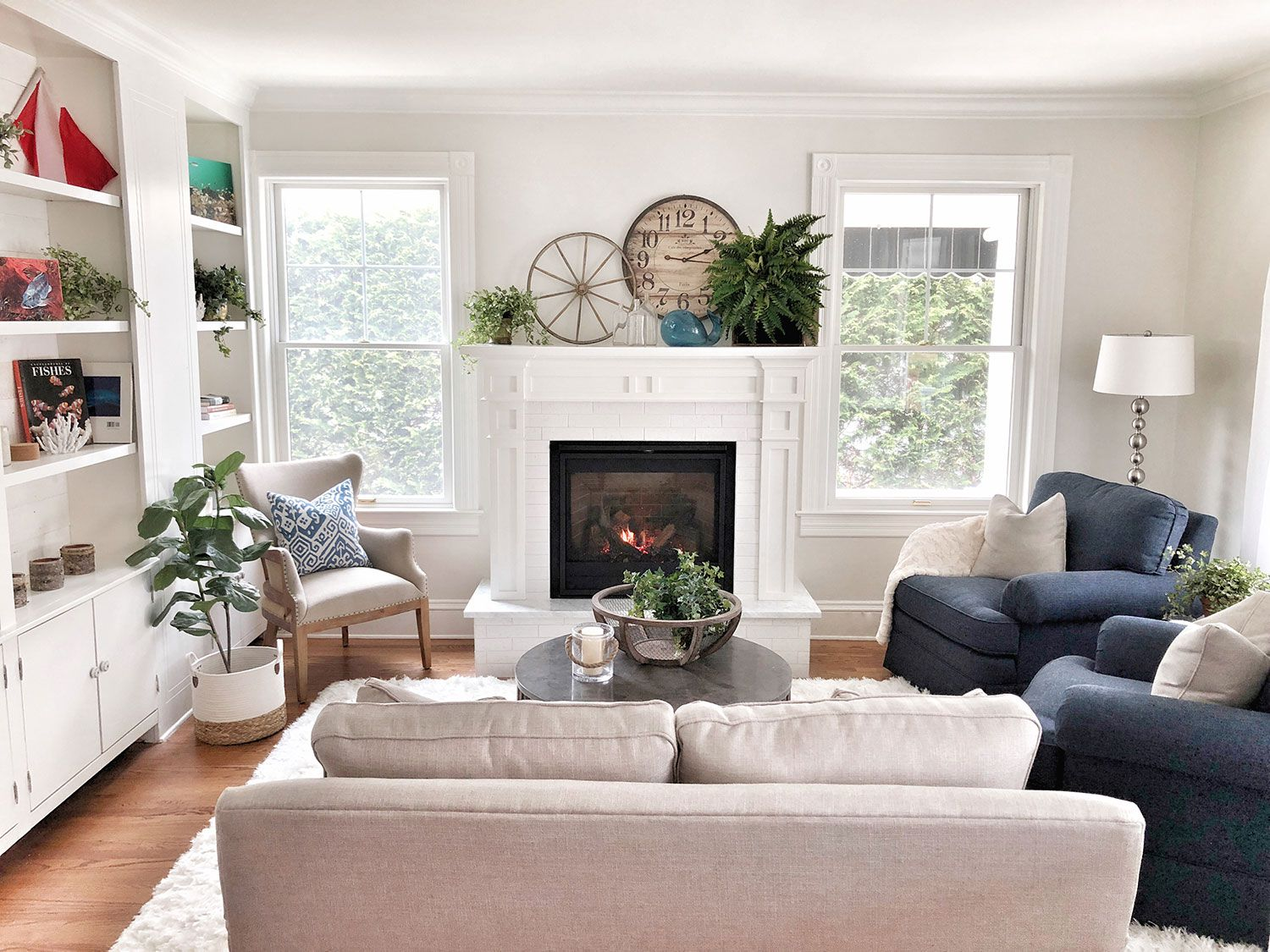 White Themed Fireplace Mantels - Evenflow Interiors